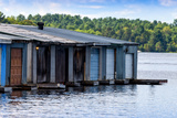 Row of Old Boathouses on Lake Muskoka, Ontario, Canada Photographic Print by Green Light Collection