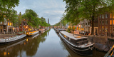 Prinsengracht Canal at Dusk with Westerkerk in Distance, Amsterdam, North Holland, Netherlands Photographic Print by Panoramic Images