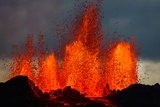 Lava Fountains at the Holuhraun Fissure Eruption Near Bardarbunga Volcano, Iceland Photographic Print by Green Light Collection