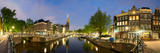 Intersection of Prinsengracht and Leidsegracht Canals at Night Photographic Print by Panoramic Images