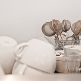 Cups with Tea Strainers Photographic Print by Green Light Collection