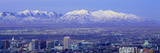 Panoramic Sunset of Salt Lake City with Snow Capped Wasatch Mountains Photographic Print by Panoramic Images