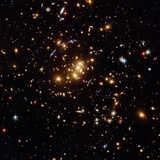 Hubble Finds a Dark Matter Ring (Blue Shapes) in a Galaxy Cluster on May 15, 2007 Photographic Print by  NASA