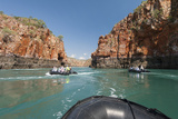 Tourists on Zodiacs Explore the Extreme Tidal Fluctuations at Horizontal Waterfalls in Talbot Bay Photographic Print by Jeff Mauritzen