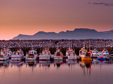 Boats in the Harbor with the Midnight Sun, Olafsvik, Snaefellsnes Peninsula, Iceland Photographic Print by Green Light Collection