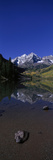 Panoramic View of Autumn Colors of Aspens Reflecting in Lake under Maroon Bells Photographic Print by Panoramic Images