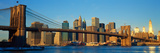 Panoramic View of Brooklyn Bridge and East River at Sunrise with New York City Photographic Print by Panoramic Images