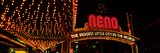 Panoramic View of Biggest Little City in America, Reno Nevada Neon Lights and Casinos Photographic Print by Panoramic Images
