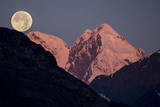 Moonset Behind Mount Salisbury in Glacier Bay National Park Photographic Print by Michael Melford