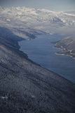 An Aerial View of a Snowy Morning Above the Columbia River Photographic Print by Pete McBride