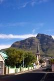 View of Devil's Peak from the Woodstock Neighborhood of Cape Town, South Africa Fotografiskt tryck av Krista Rossow