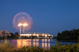 Fireworks on the 4th of July Above the Kennedy Center Photographic Print by Richard Nowitz