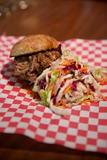 Pulled Pork Slider Sandwich with Coleslaw in the Mission District of San Francisco, California Fotografisk trykk av Krista Rossow