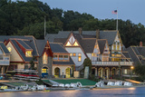 Boathouse Row at Dusk on Schuylkill River in Philadelphia Photographic Print by Richard Nowitz