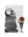 Skull and Books Affiches par  Fab Funky