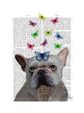 White French Bulldog and Butterflies Premium Giclee Print by  Fab Funky
