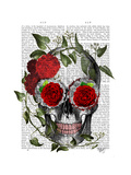 Skull with Roses and Vines Premium Giclee Print by  Fab Funky