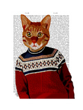 Cat in Ski Sweater Posters by  Fab Funky