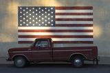 An Old Red Pickup Parked in Front of American Flag Mural Photographic Print by Michael Forsberg