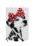 Dalmatian with Red Bow Premium Giclee Print by  Fab Funky