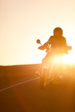 A Rider on 1960S Bmw R60Us Motorcycle on a Coastal Road at Sunset Photographic Print by Jak Wonderly