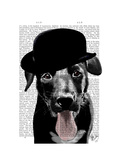 Black Labrador in Bowler Hat Art by  Fab Funky