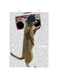 Meerkat with Boom Box Ghetto Blaster Premium Giclee Print by  Fab Funky