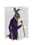 Hare in Purple Coat Posters by  Fab Funky