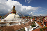 View of Boudhanath Stupa from One of the Many Rooftop Restaurants Surrounding It Photographic Print by Jill Schneider