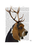 Basset Hound and Antlers Posters by  Fab Funky