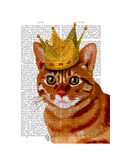 Ginger Cat with Crown Portrai Premium Giclee Print by  Fab Funky