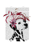 Dalmatian with Red Fascinator Premium Giclee Print by  Fab Funky