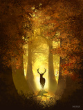 Autumn Deer Stampe di Anthony Salinas