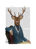 Distinguished Deer Portrait Premium Giclee Print by  Fab Funky