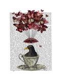 Blackbird in Teacup Reproduction giclée Premium par  Fab Funky
