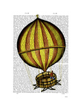 Hot Air Balloon Yellow and Red Prints by  Fab Funky