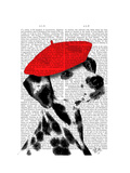 Dalmatian with Red Beret Prints by  Fab Funky