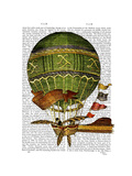 Hot Air Balloon Green Prints by  Fab Funky