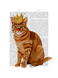 Ginger Cat with Crown Full Premium Giclee Print by  Fab Funky