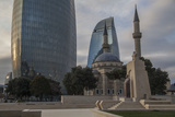 Exterior View of the Flame Towers and Shakhindlar Mosque Photographic Print by Will Van Overbeek