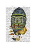 Blue Cylindrical Hot Air Balloon Poster by  Fab Funky