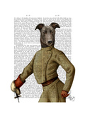 Greyhound Fencer Dark Portrait Premium Giclee Print by  Fab Funky
