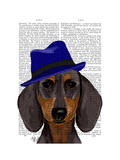 Dachshund with Blue Trilby Premium Giclee Print by  Fab Funky
