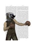 Boxing Bulldog Portrait Premium Giclee Print by  Fab Funky