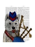 West Highland Terrier and Bagpipes Posters by  Fab Funky