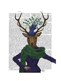 Deer and Fascinator Premium Giclee Print by  Fab Funky