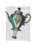 Flying Teapot 1 Green and Yellow Premium Giclee Print by  Fab Funky