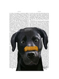 Black Labrador with Bone on Nose Posters by  Fab Funky