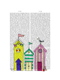 Beach Huts 1 Illustration Prints by  Fab Funky
