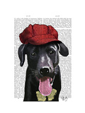 Black Labrador with Red Cap Prints by  Fab Funky